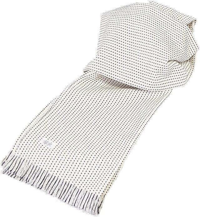 【日本製】三河木綿 一本刺し子生地使用 レディースストール (約)幅38x198cm