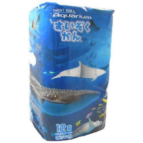 【送料別】 プリント トイレットペーパー 2枚重ね 12Rパック かわいい水の生き物 すいぞくかん柄 トイレットペーパー 12ロール (ダブル)