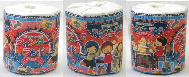 【送料別】 プリント トイレットペーパー 2枚重ね ウィンターランド柄 個包装 100個セット