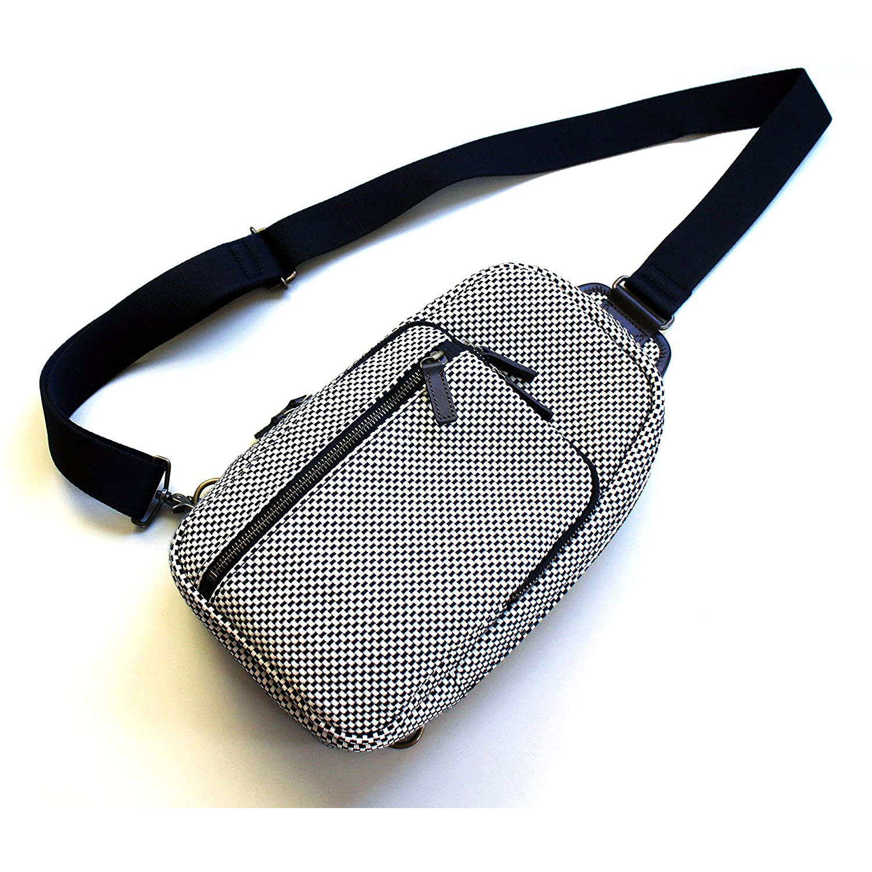 【日本製】刺し子 斜めがけボディバッグ 約16.5x30x6cm※前ポケット部除く #SK013