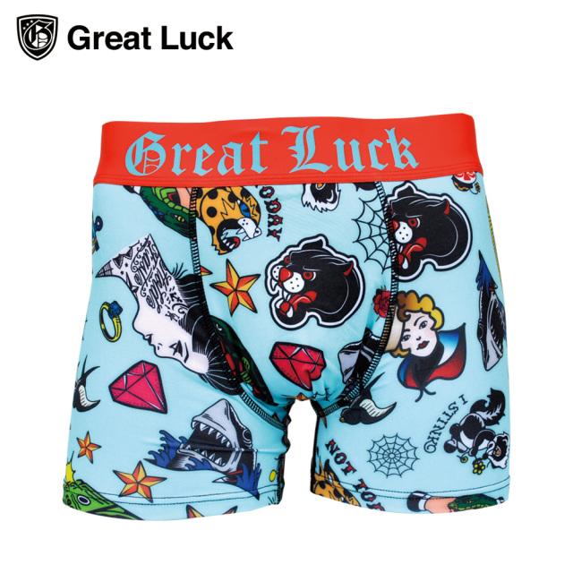 Great Luck(Designed in Japan)/グレイトラック TATTOO (ティファニーブルー)冷感生地