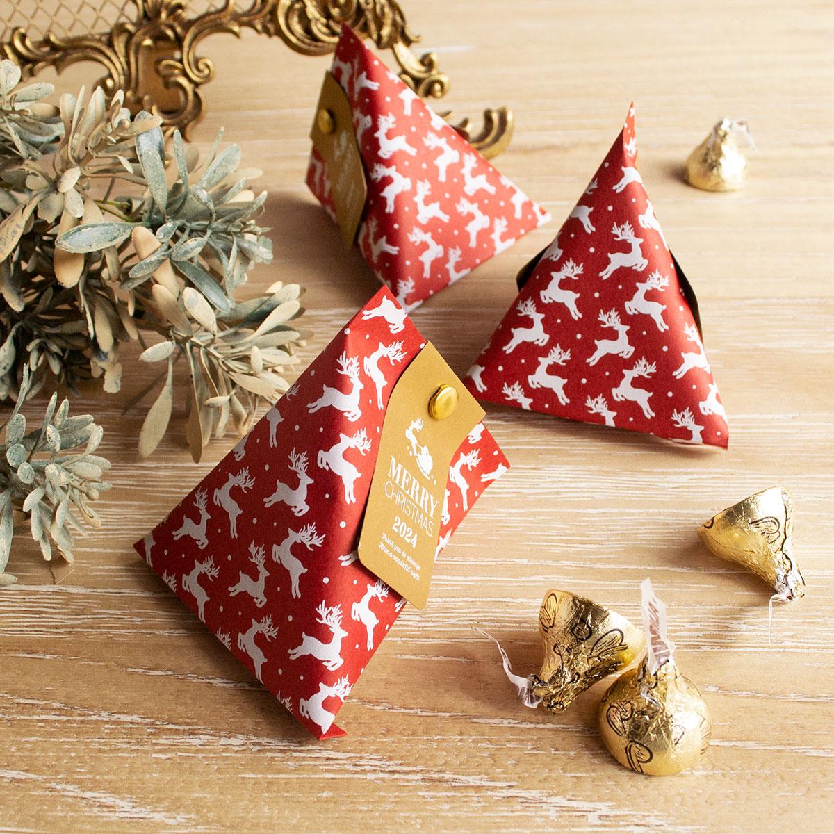 クリスマス柄のおしゃれなテトラパック手作りキット【ラッピング】【プチギフト】