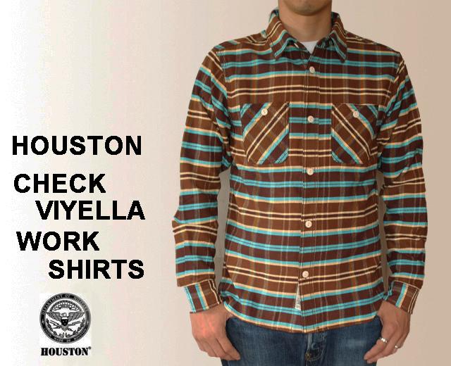 HOUSTON/ヒューストン ネルシャツ ビエラチェックワークシャツ 茶  40332BR 「CHECK VIYELLA WORK SHIRTS」