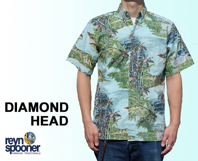 Reyn Spooner/レインスプーナー アロハシャツ ダイヤモンドヘッド DIAMOND HEAD フルオープン 青 ブルー