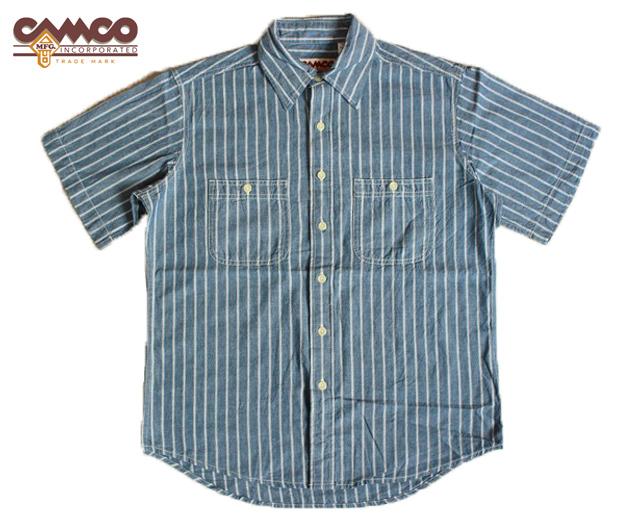 カムコ シャンブレーシャツ 半袖 ストライプ