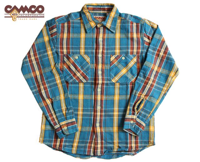 カムコ ネルシャツ 青