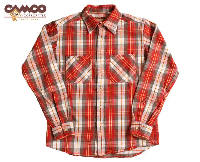 カムコ ネルシャツ 赤