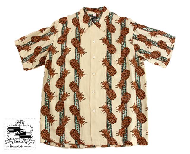コナベイハワイ アロハシャツ パイナップル ボーダー