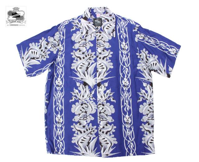 コナベイハワイ アロハシャツ フラワーボーダー