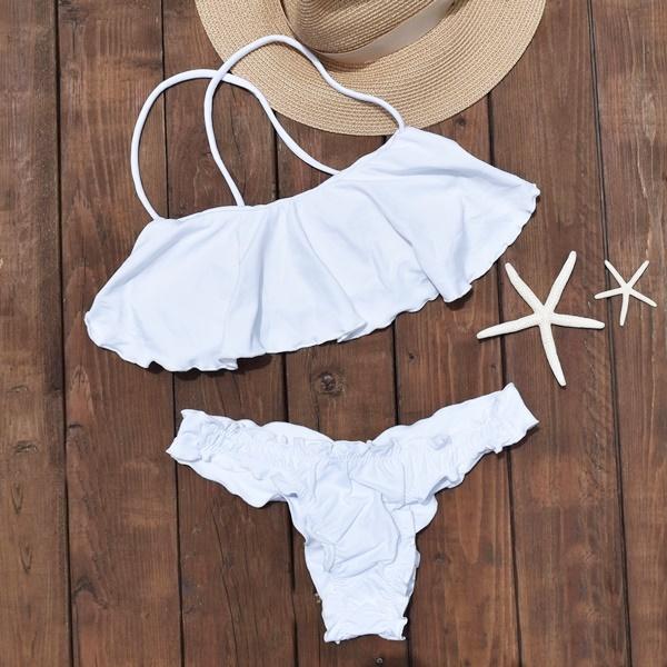 ブラジリアン ビキニ 水着 フリルで体型カバー フレアビキニ Liso 白