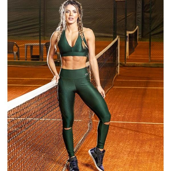 スポーツブラ レギンス 上下セット スポーツウェア フィットネス セットアップ インポート グリーン 緑 ボタニカル ブラジル製