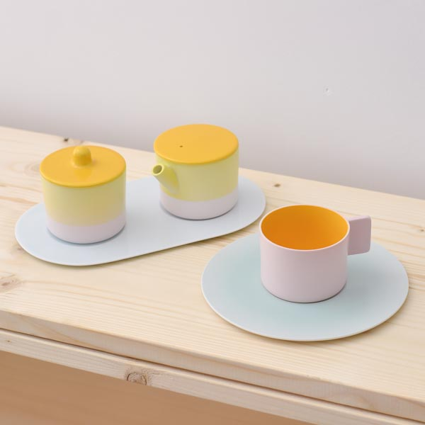 【有田焼 1616 / arita japan】 S&B Coffee Sugar Milk Pink-Yellow set ≪送料無料/3営業日で出荷≫