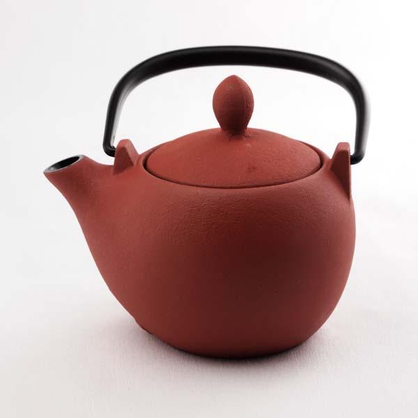 急須 マロン 赤茶艶消≪2週間程で出荷≫ ( 岩鋳 取っ手付き 茶こし付き 茶器 カラーポット ティーポット 南部鉄器 )