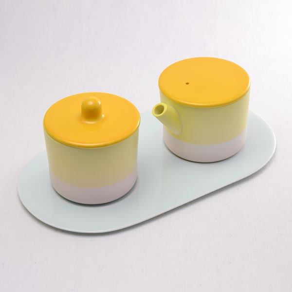 【有田焼 1616 / arita japan】 S&B Milk Can & Sugar Can & Platter Set Yellow/Light pink ≪送料無料/13時まで即日出荷≫