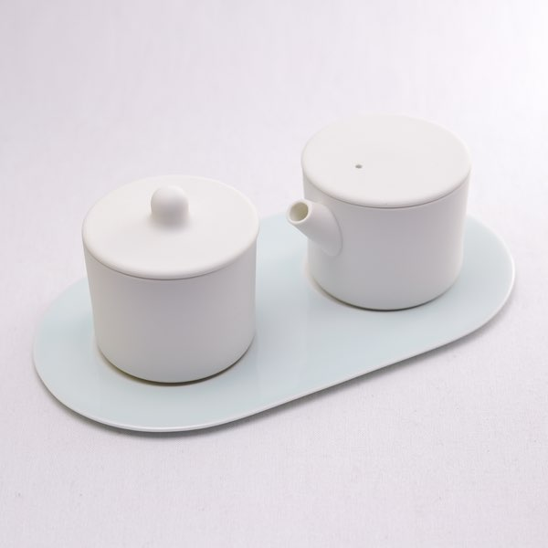 【有田焼 1616 / arita japan】 S&B Milk Can & Sugar Can & Platter Set Plain White ≪入荷日未定≫