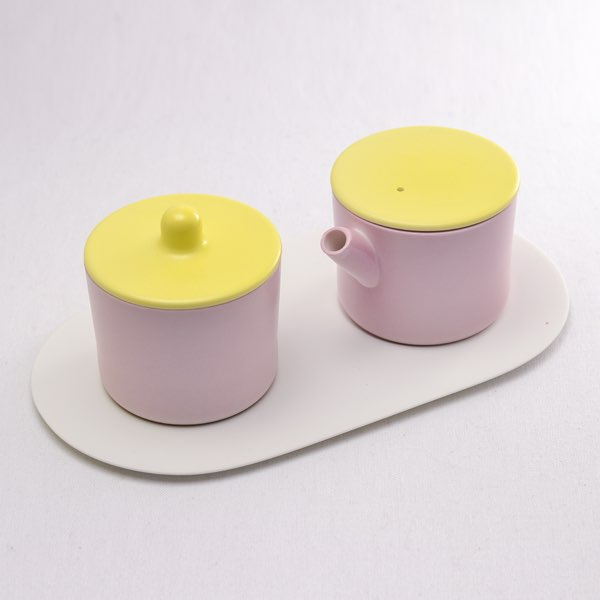 S&B Milk Can & Sugar Can & Platter Set Light Yellow/Light pink≪!取り寄せ商品!通常1~3営業日で出荷≫ ( 1616 / arita japan ミルクポット クリーマー シュガーポット 陶器 おしゃれ 有田焼 )