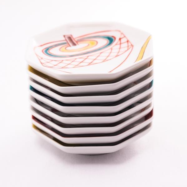 【送料無料】八角皿 おめでた 8枚組≪!メーカー直送品!通常即日発送≫ ( 陶器 小皿 豆皿 醤油皿 食器 九谷焼 )