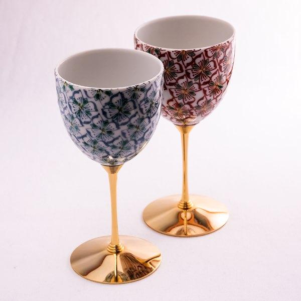 【九谷焼 】 ワインカップ 花紋 ペア ≪送料無料/売り切れました≫