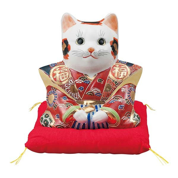 【九谷焼 】 福助猫 盛 6号 ≪送料無料/1~3営業日で出荷≫