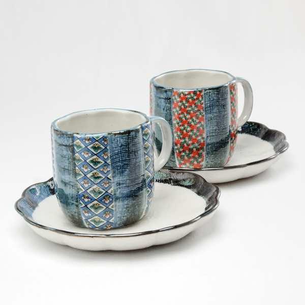 【九谷焼 】 コーヒーカップ 二色小紋 ペア ≪1~3営業日で出荷≫