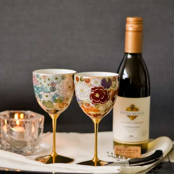 【九谷焼 】 ワインカップ 色変り花詰 ペア ≪送料無料/1~3営業日で出荷≫