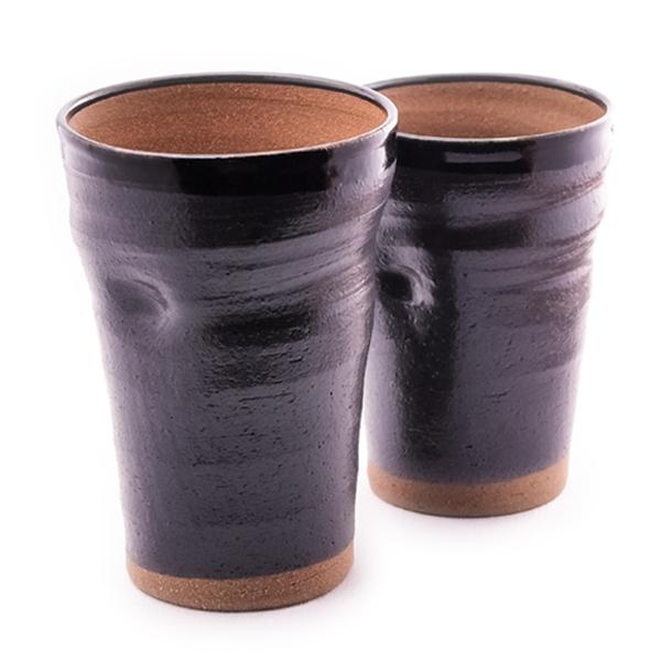 ビアカップ 黒釉 ペア≪!メーカー直送品!通常即日発送≫ ( 和窯 陶器 ビールグラス ビアグラス ビアカップ タンブラー 定年 退職祝い 九谷焼 )