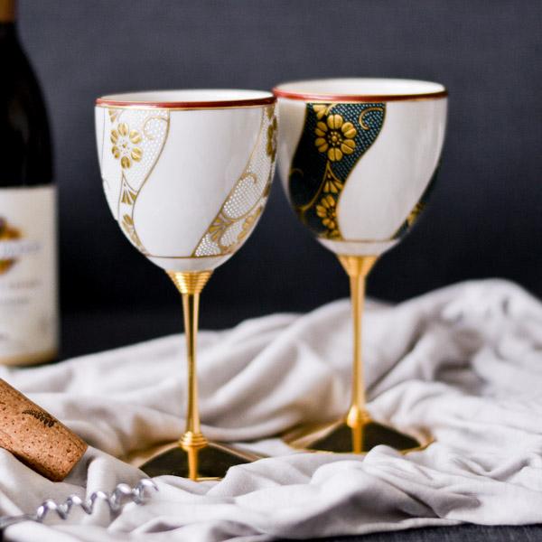 【九谷焼 】 ワインカップ 本金捻鉄仙文 ペア ≪送料無料/売り切れました≫