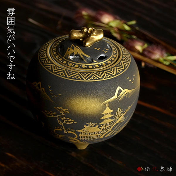 【九谷焼 】 香炉 ダマシン山水 3.5号 ≪送料無料/1~3営業日で出荷≫