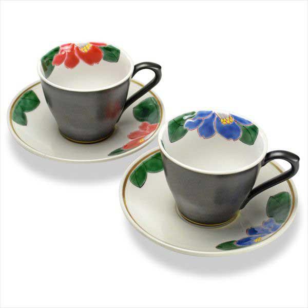 【九谷焼 】 コーヒーカップ 色椿 ペア ≪送料無料/13時まで即日出荷≫