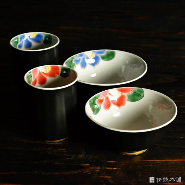 【九谷焼 】 夫婦茶碗 夫婦湯呑 色椿 セット ≪送料無料/売り切れました≫