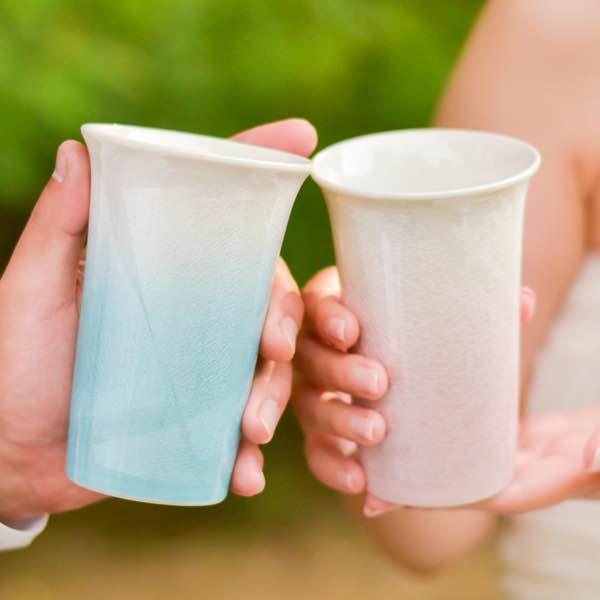 フリーカップ cheri ペア / 焼酎グラス ビアカップ ビールグラス フリーカップ 結婚祝い 結婚記念日 還暦祝い 父 母 九谷焼  ≪送料無料/13時までのご注文即日発送(土日祝日を除く)≫