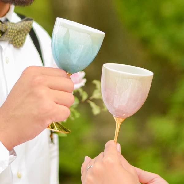【九谷焼 】 ワインカップ cheri ペア ≪送料無料/13時まで即日出荷≫