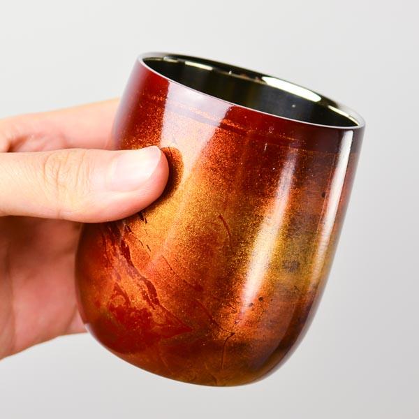 【山中漆器 漆磨漆流し】 2重ロックカップ ダルマ 選べる2色 赤 黒 1個  ≪送料無料/1~3営業日で出荷≫