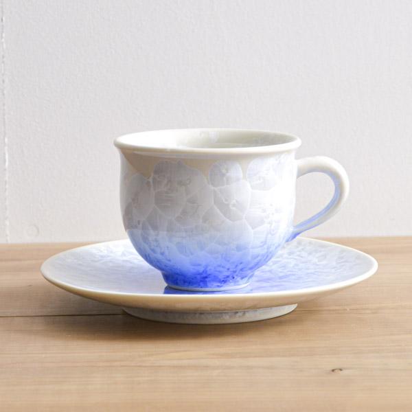 【送料無料】珈琲碗皿 花結晶 白地青≪1~3営業日で出荷≫ ( 名入れ可 セット ソーサー ティーカップ 美味しい おすすめ 清水焼 京焼 )