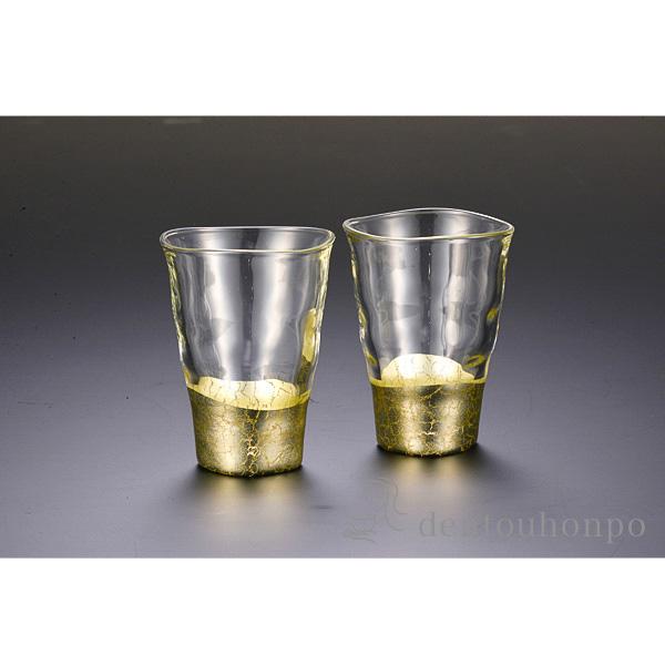 貫入 一口グラス シャンパンゴールド 2個≪!メーカー直送品!通常1~3営業日で出荷≫ ( 箔一 退職祝い 焼酎グラス ビアカップ ビールグラス フリーカップ グラス 金沢金箔 )