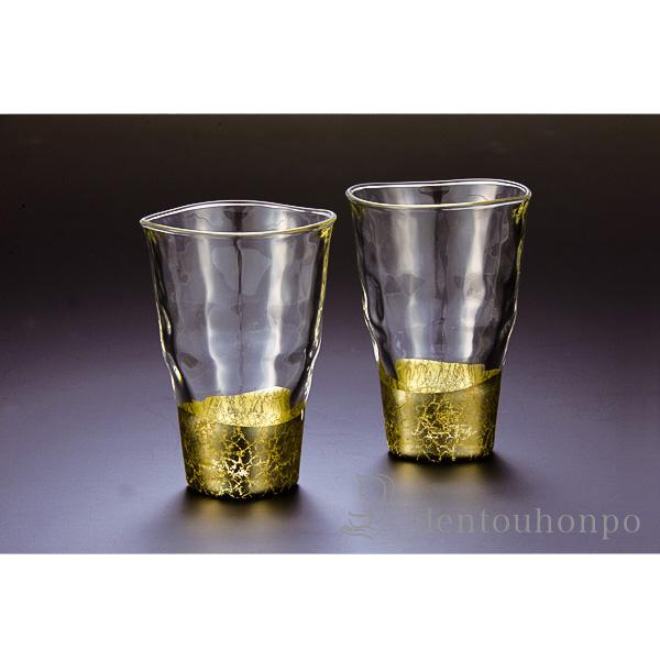 貫入 タンブラー シャンパンゴールド 2個≪!メーカー直送品!通常1~3営業日で出荷≫ ( 箔一 退職祝い 焼酎グラス ビアカップ ビールグラス フリーカップ グラス 金沢金箔 )