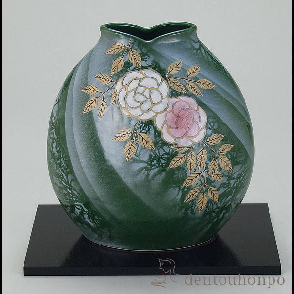 【送料無料】花瓶 野薔薇 7号 花台付≪!メーカー直送品!通常即日発送≫ ( 名入れ可 ガラス フラワーベース 花器 一輪挿し おすすめ 九谷焼 )