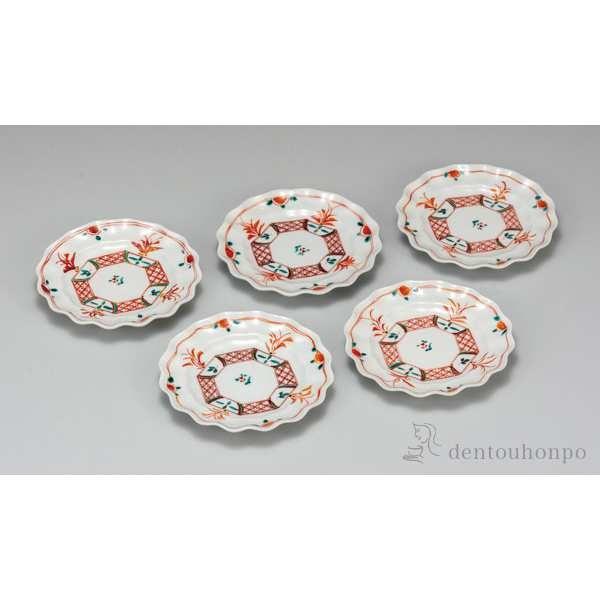 【送料無料】皿揃 赤絵 5.2号 5枚セット≪!メーカー直送品!通常即日発送≫ ( 和食器セット お皿 揃える 食器 和食 九谷焼 )