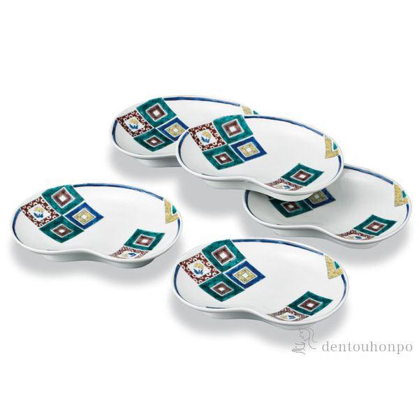 【送料無料】皿揃 石畳の図 5.5号 5枚セット≪!メーカー直送品!通常1~3営業日で出荷≫ ( 退職祝い 和食器セット お皿 揃える 食器 和食 九谷焼 )