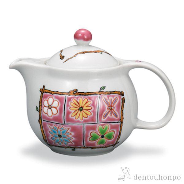 【送料無料】九谷焼 ポット急須 フラワーBOX ピンク 茶こし付き≪1~3営業日で出荷≫ ( ティーポット お茶 セット 日本茶 おすすめ 九谷焼 )