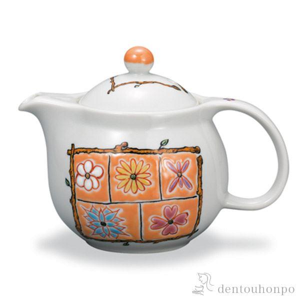 【送料無料】九谷焼 ポット急須 フラワーBOX オレンジ 茶こし付き≪1~3営業日で出荷≫ ( ティーポット お茶 セット 日本茶 おすすめ 九谷焼 )