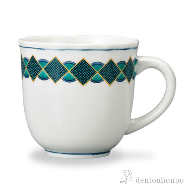 マグカップ 青粒幾何紋(グリーン)≪!メーカー直送品!通常1~3営業日で出荷≫ ( プレゼント デザイン マグ オリジナル タンブラー 九谷焼 )