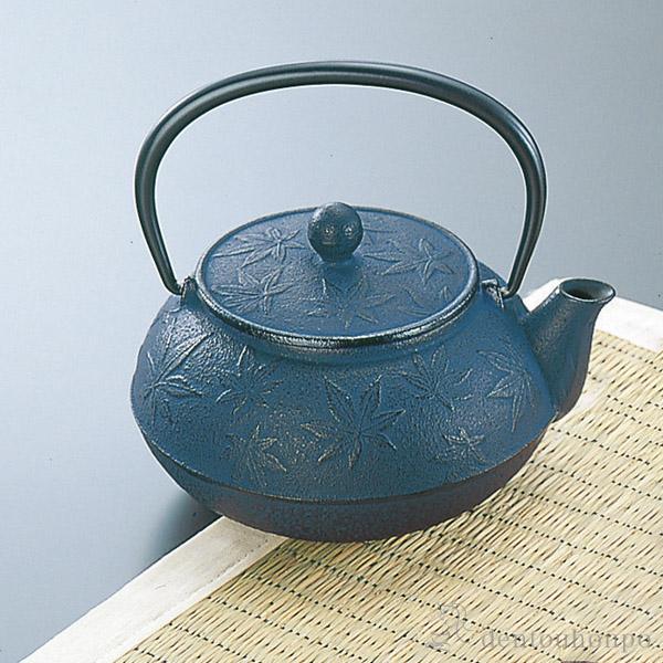 急須 カエデ 紫紺 5型 茶こし付≪1週間程で出荷≫ ( 南部鉄器 )