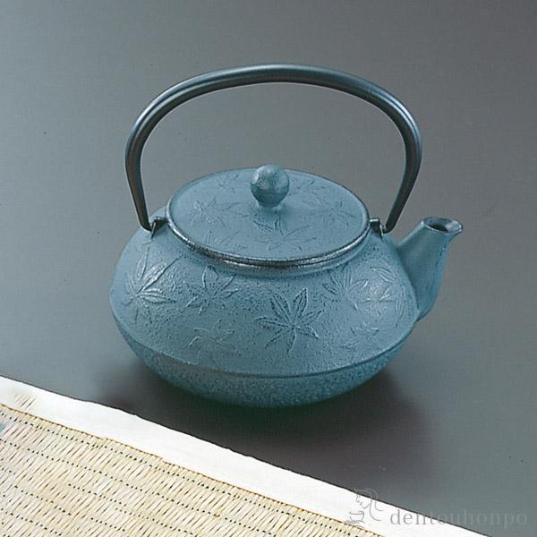 急須 カエデ 緑青 3型 茶こし付≪1週間程で出荷≫ ( 岩鋳 南部鉄器 )