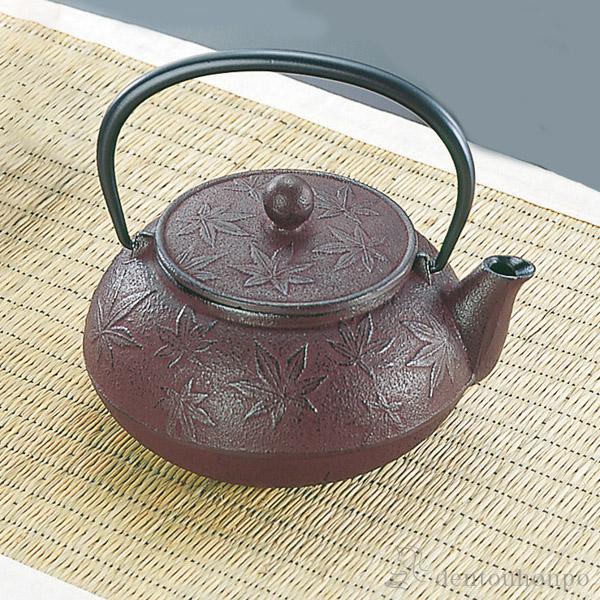 急須 カエデ えび茶 5型 茶こし付≪1週間程で出荷≫ ( 南部鉄器 )