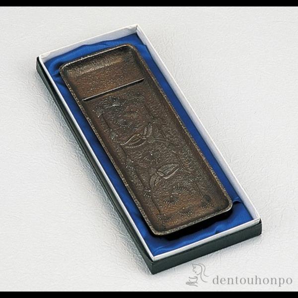 銅製 ペン皿 松鶴文≪1~3営業日で出荷≫ ( 高級 万年筆 鉛筆 水性 油性 高岡銅器 )