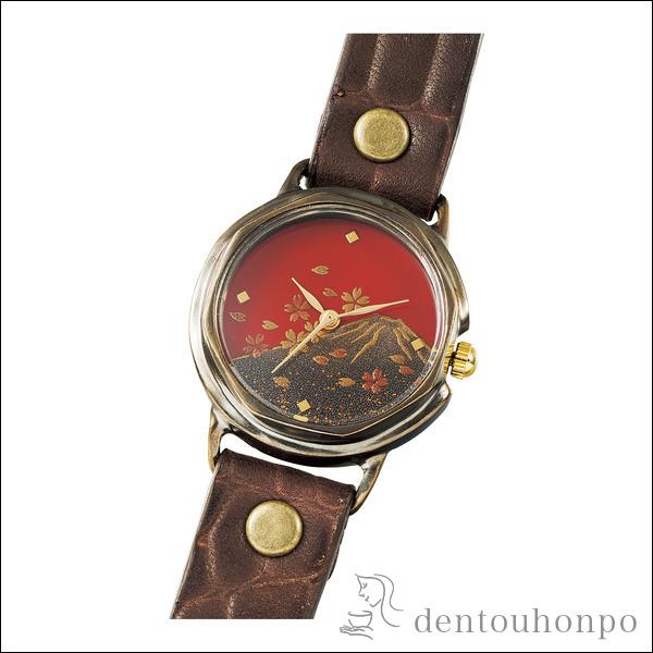 【送料無料】Lady's 腕時計 富士に桜≪!メーカー直送品!通常1~3営業日で出荷≫ ( レディース 腕時計 とけい ベルト 蒔絵 母の日 山中漆器 )