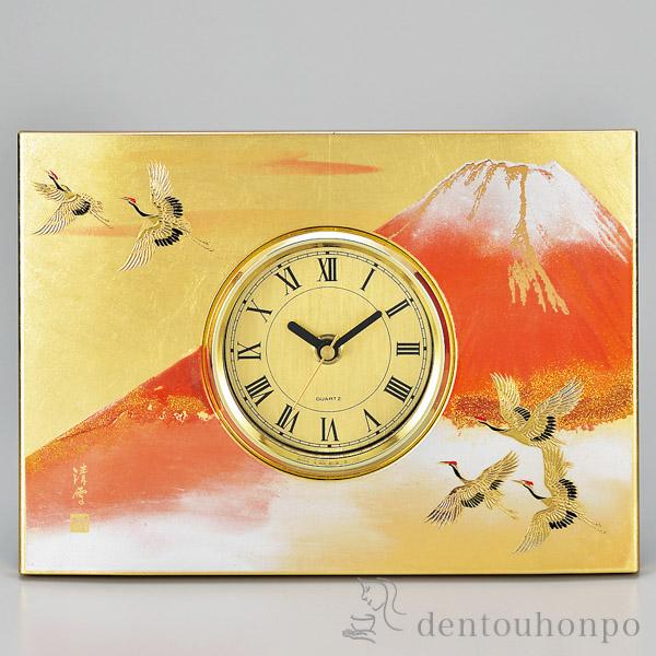 【送料無料】パネル時計 紅富士 金≪1~3営業日で出荷≫ ( 名入れ可 置時計 置き時計 アクセサリー パソコンデスク 人気 父の日 山中漆器 )