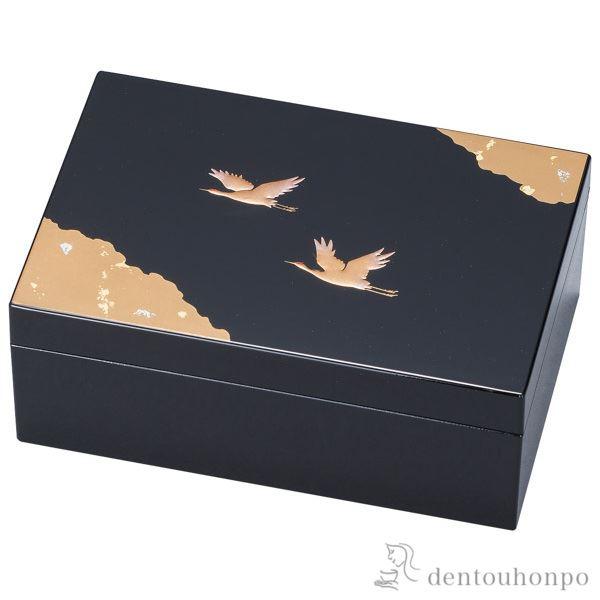 プチアクセサリーBOX 光輝 黒≪!メーカー直送品!通常1~3営業日で出荷≫ ( 名入れ可 アクセサリー入れ 収納ボックス ケース BOX 宝物 山中漆器 )