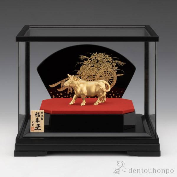 【送料無料】純金製 福来 「丑」 K24 90g 大 ケース付き≪2週間程で出荷≫ ( 干支 丑 丑年 2021年  )
